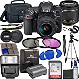Nikon D7500 DSLR Camera with 18-55mm VR Lens + 64GB Card, Tripod, Flash, 3 Piece Filter Kit, Case,...