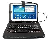 Etui aspect cuir noir + clavier intégré AZERTY (français) pour tablettes...