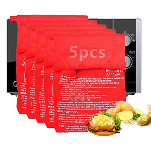 Qiwenr 5 PCS Bolsa para Patatas en Microondas, Lavable Reuti