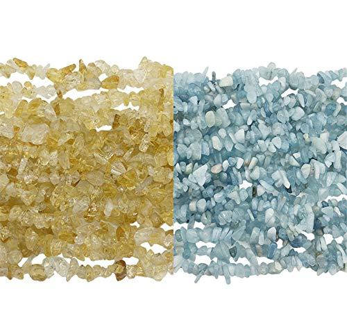 Fekuar 66' Irregular Tumbled Citrine & Aquamarine Chip Beads...