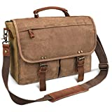 emissary Laptop Messenger Bag for Men 15.6'' Computer Bag Canvas and Leather Shoulder Briefcase Brown 15.6'' Laptop Bag