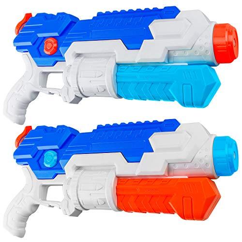 HDJUNTUNKOR Super Water Gun for Kids, 2 Pack WaterSoaker Blaster Squirt-Gun for Adults 40Ft Long Range Water Blaster for Teens Beach Swimming Pool Water Fighting Toy - 800CC Capacity