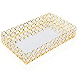 HighFree Mirrored Crystal Cosmetic Tray Vanity Makeup Tray Ornate Jewelry Trinket Tray Organizer Perfume Tray Decorative Tray for Home Deco, Rectangle-10x6 Inch (Gold)