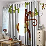 Nursery Blackout curtains - gasket insulation Cute Cartoon Monkey Hanging on Liana Playful Safari Character Cartoon Mascot Blackout curtains for the living room W84 x L84 Inch Brown Green Pink