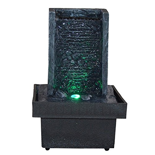 Innenbrunnen Zimmerbrunnen Zen Wand LED Farbwechselnde Beleuchtung
