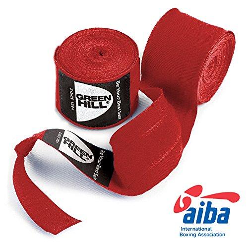 GREEN HILL Vendajes DE Mano Boxeo ELÁSTICAS Kick Boxing Venda ELÁSTICA Negro Rojo Azul Aprobado AIBA HOMOLOGADO (Rojo, 4.5 m)