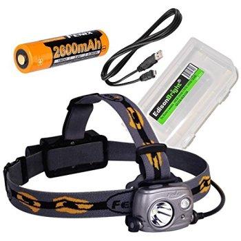 Fenix HP25R 1000 Lumen USB rechargeable CREE LED Headlamp (neutral white), 2 X Fenix 18650 rechargeable Li-ion batteries with EdisonBright BBX3 battery carry case bundle
