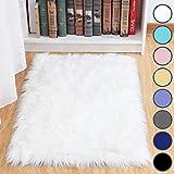 junovo Luxury Fluffy Area Rugs Furry Rug for Bedroom Faux Fur Sheepskin Nursery Rugs Fur Carpet for Kids Room Living Room Home Decor Floor Mat, 2ft x 3ft White