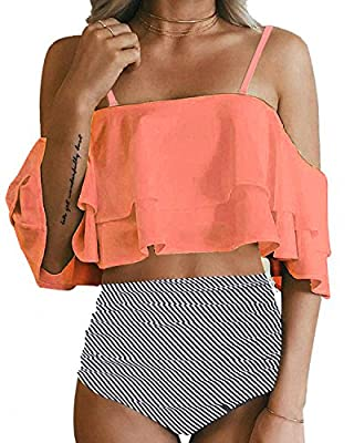 This fashion women bikini swimsuit features with removable padded push-up bra, adjustable shoulder straps, ultra stylish and adorable. Double ruffled flounce off shoulder crop top accentuates your attractive silhouette without too revealing, makes yo...