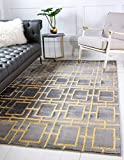 Unique Loom Glam Collection Geometric, Squares, Metallics, Modern, Chic Area Rug, 5' 0 x 8' 0 Rectangular, Gray/Gold