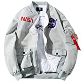 Wildswan Men Biker Bomber Jacket, NASA MA-1 Military Flight Jacket Light Air Force Moto Street Coat Winter B4051, Grey Thickened, XX-Large