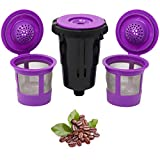 Reusable K Cups for Keurig K-Mini and K Mini Plus with Adapter by PureHQ | Keurig Mini Plus Refillable Kcups for Mini Keurig (3 Refillable Coffee Pods + Adapter)