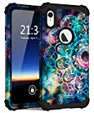 Hocase iPhone XR Case, Heavy Duty Shockproof Protection Soft Silicone Rubber+Hard Plastic Bumper Hybrid Dual Layer Protective Phone Case for iPhone XR (6.1-inch Display) 2018 - Mandala in Galaxy