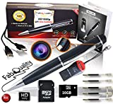 FabQuality Spy Camera Hidden Pen HD 1080P Clip On nanny cameras Mini Spy Pen PLUS 16GB SD Card + USB Reader + 5 Inks + Adaptor Perfect for Spy Gadgets