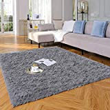 Yome Machine Washable Area Rug, Shaggy Home Decor Floor Rug, Carpet Overlocking on Edges, Ultra Soft Carpet for Bedroom, Living Room, Children's Room, Book Room, Fluffy Rug 4 x 5.3 Feet, Grey.