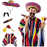 Tigerdoe Cinco De Mayo Costume - Mexican Costume – Sombrero Hat – Authentic Serape Poncho - Cigar - Mustaches - Maraca - Mexican Fiesta