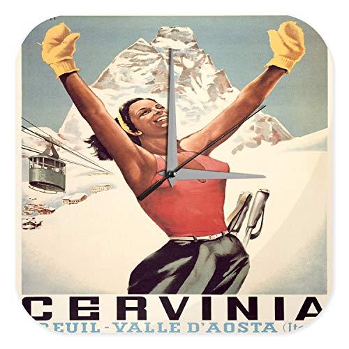 Orologio da parete Giramondo Breuil Valle D' Aosta Itallien cabinovia donna Plexiglas Acrillico