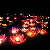 LEDMOMO – Lot de 15 lanternes flottantes en forme de lotus, lumières de...