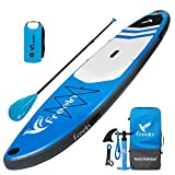 """Freein Explorer Inflatable Stand Up Paddle Board Double Layer Light SUP 11' Long 33"""" Wide 6"""" Thick Blue with Action Camera Mount Package∣adj Paddle,Backpack,Leash and Waterproof Bag,Pump"""
