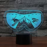 3D Ski Goggles Moulding Night Light Touch Switch 7 Color Change LED Table Desk Lamp Acrylic Flat ABS Base USB Charger Home Decoration Toy Brithday Xmas Kid Children Gift