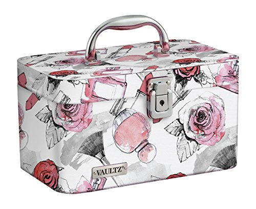Vaultz Locking Train Case for Cosmetics Storage, Cosmetic Roses (VZ03809)