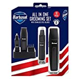 Barbasol Battery Powered Electric All in 1, 10 Piece Grooming Set with Stainless Steel Blades, Ear and Nose Trimmer, Beard Timmer and 4 Guide Combs with Stand