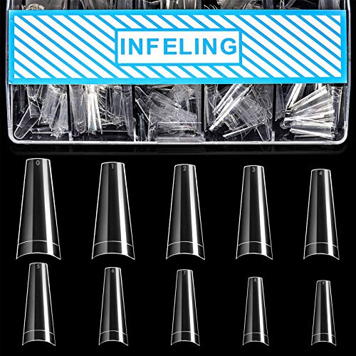 Clear Coffin Nail Tips - Clear Acrylic Nail Tips, 500pcs Clear Ballerina Nail Tips, Half Cover False Nails Fake Nail Tips with Box, INFELING Clear French Nail Tips for Nail Salons Home, 10 Sizes