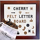 whoaon Classic Cherry Red Frame Cream Felt Letter Board 10 x 10 inches. 346 Brown & 173 Black Plastic Letters. Vintage-Processed Pine Wood Frame (Office Product)