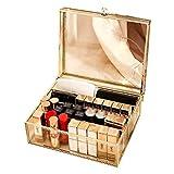 Organizador de Maquillaje, encimera Antigua, Caja de Almacenamiento de cosméticos, exhibición de Belleza de Vidrio, Dorado, Soporte de Gran Capacidad para cepillos, lápices