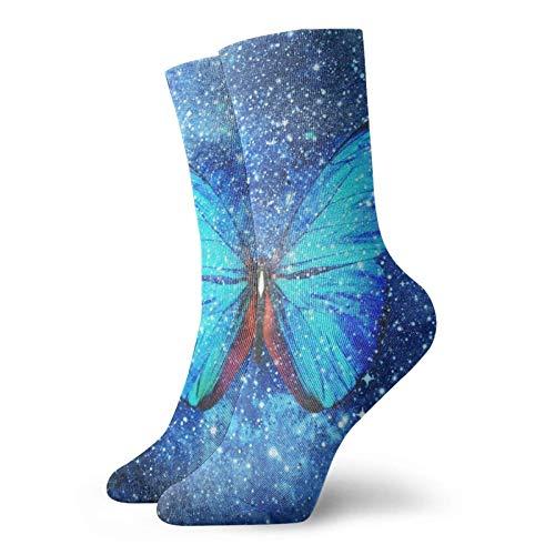 LLeaf Star Butter-fly Crew Calcetines deportivos para hombre y mujer Calcetines de vestir transpirables clásicos 30 cm