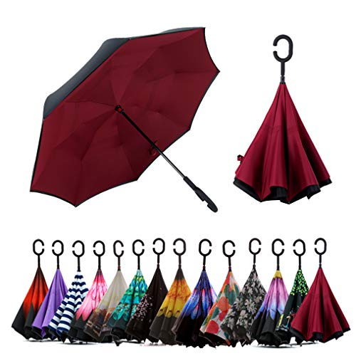 Spar. Saa Double Layer Inverted Umbrella with C-Shaped Handle, Anti-UV Waterproof Windproof Straight Umbrella for Car Rain Outdoor Use (Burgundy)