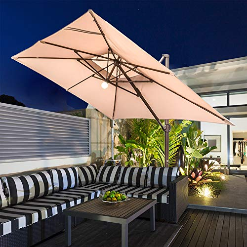 Abba Patio 9 x 12 ft Patio Offset Hanging Umbrella with Solar Lights Double Top Rectangular Cantilever Umbrella with Easy Tilt & Cross Base for Garden, Deck, Backyard and Pool, Beige