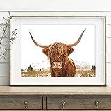 zhuziji DIY Pintar por números Pintura Moderna de Estilo nórdico Animal de Vaca de montaña Pintar por numeros Gato Adecuado para la decoración de la Sala de Estar para niños, est50x70cm(Sin Marco)
