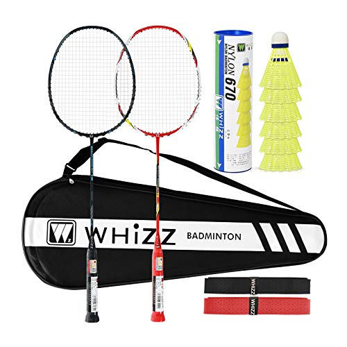WHIZZ Badminton Rackets with Frame Protection for Beginners Adults, Carbon Fiber Frame and Shaft, 87g Strung, Includes Large Racquet Bag / 2 Grip Tapes (Black/Red)