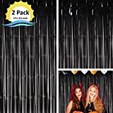 Moohome 2 Pack 3ft x 8ft Black Foil Curtains Metallic Tinsel Fringe Curtains Shimmer Door Window Curtain Backdrop for Birthday Wedding Bridal Shower Baby Shower Halloween Photo Booth Party Decorations