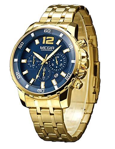 MEGIR Chronograph Uhr Edelstahl Herren Elegant Wasserdicht Golden Herrenuhr Klassisches Leuchtende Analog Quarzuhr Mit Golden Edelstahlarmband