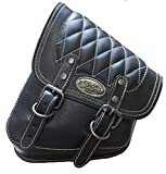 La Rosa Harley-Davidson All Softail Models Left Side Solo Saddle Bag Swingarm Bag Black w/White Thread Diamond Tuk