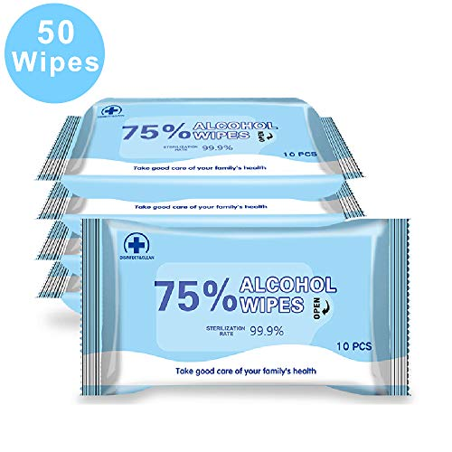 Disinfectant Wipes, 75% Alcohol Wet Wipes Cleaning Wet Wipes (1 Pack/10 Wipes,7.08'X5.5') Antiseptic Sterilization Wipes Daily Disinfecting Use for Hand Home House (5 Pack)