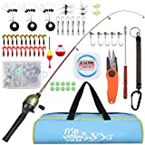 Zacro Kids Fishing Pole - Children's Portable Telescopic Fishing Pole and Reel Combos Full Kits, with Portable Tote Bag,Unique Trout Color Fishing Rod for Kids Travel Saltwater Freshwater Fishing