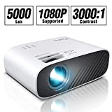 ELEPHAS 2020 Mini Movie Projector, 5000 LUX Full HD 1080P Video Projector, with 50, 000 Hours LED Lamp Life and 200' Display, Compatible with USB/HDMI/VGA/Laptop/iPhone/TV Stick/TF Card