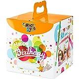 BIC Kids Caja de colores de Cumpleaños - 12 Lápices de colores /12 rotuladores de colores /12 Ceras Blandas /6 Tubos de Pegamento con Purpurina /30 Adhesivos y 24 Tarjetas para Colorear