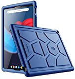 Poetic TurtleSkin Series Designed for Google Pixel Slate 12.3 Inch case, Heavy Duty Shockproof Kids Friendly Silicone Bumper Protective Case Cover, Navy Blue