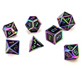 Tbrand DND Metal dice, Used in Dungeon and Dragon dice RPG Role-Playing Games, The Cool Rainbow Iron Art Multi-Faced DND dice Set is Very Suitable as Gifts and Collectors Lovers