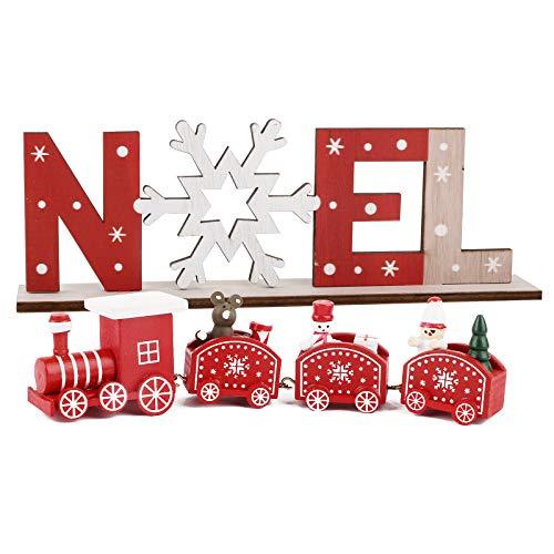 BHGT Mini Tren de Madera + Adornos Navideños Mesa Noel Decoración Navidad Hogar Mesa Ornamento Navidad Fiesta Regalo Rojo