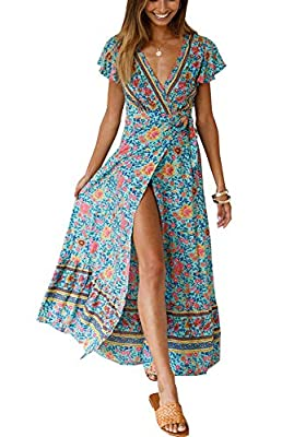 Material :Chiffon material,Comfortable, Soft ,Breathable ,Doesn't Fade Feature: A long maxi dress in a faux-wrap design, Featuring an all over floral print, Boho floral print,Short sleeves with big cuffs, Deep v neck, Belted, Empire waist,Front slit,...