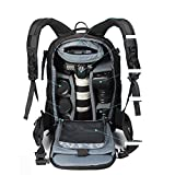 YAAGLE Waterproof Nylon Anti-shock Anti-theft DSLR Camera Bag Professional Gear Photography Travel Backpack Rucksack Laptop Backpack with Extra Rain Cover Black