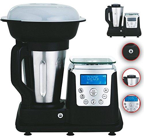 10 in 1 Thermo Multikocher Küchenmaschine mit Kochfunktion/Temperatur 1350 Watt 1.7 Liter Kochen, Mixen, Dampfgaren, Multifunktions-Küchenmaschine, Zerkleiner, Thermo-Koch- & Mix-Maschine (Weiß)