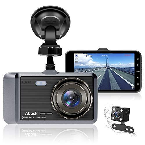 Abask Dashcam Auto Vorne und Hinten Autokamera 4 Zoll Full HD 1080P Dual Dash Cam mit 170 ° Weitwinkel, Nachtsicht, G-Sensor, WDR, Loop-Aufnahm, Parküberwachung und Bewegungserkennung