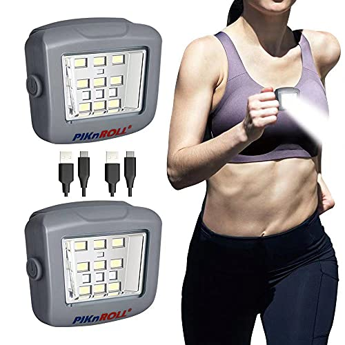 Running Light 2 Pack PIKnROLL IPX5 Weatherproof, Multi-use USB Rechargeable LED Safety Light, Reflective Gear, Bike Lights, Pet Collar Light, Camping,Jogging Hiking, Car Repair, Walking