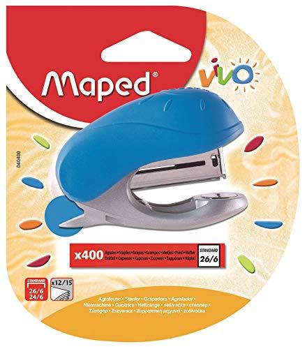 Maped Vivo - Mini cucitrice per punti 24/6 o 26/6 con pinzatrice integrata, con scatola da 400 punti...